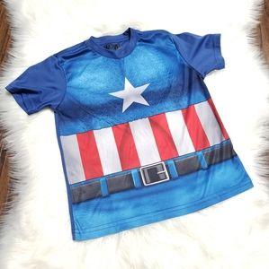 Captain America Marvel Boy Short Sleeve Shirt 5-6